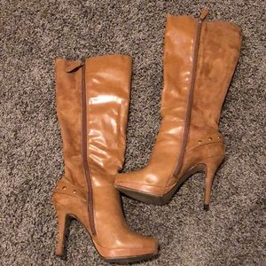 Camel colored heeled boots